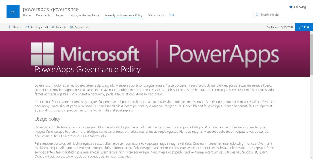 Screenshot of PowerApps usage and governance policy