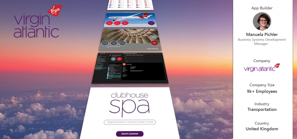 Banner image with Virgin Atlantic branding and PowerApps screenshots