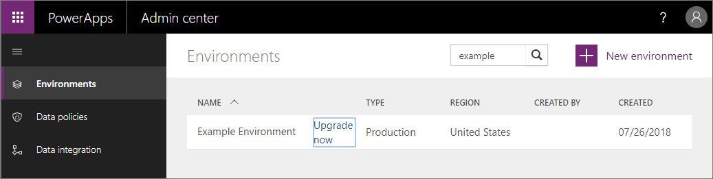 The Upgrade now button appearing in the list of environments