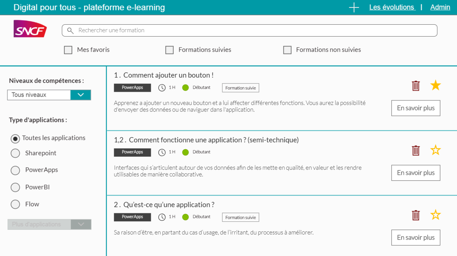 Screenshot of E-Learning platform