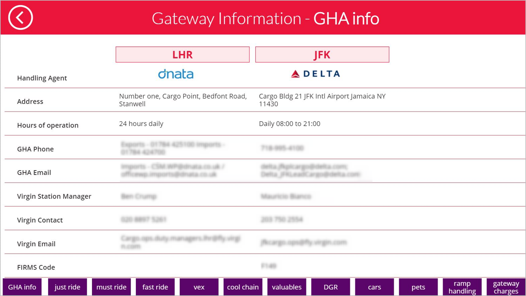 Screenshot of Gateway Information app
