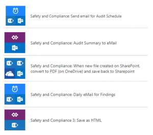 Screenshot of flows used in Safety and Compliance Audit solution