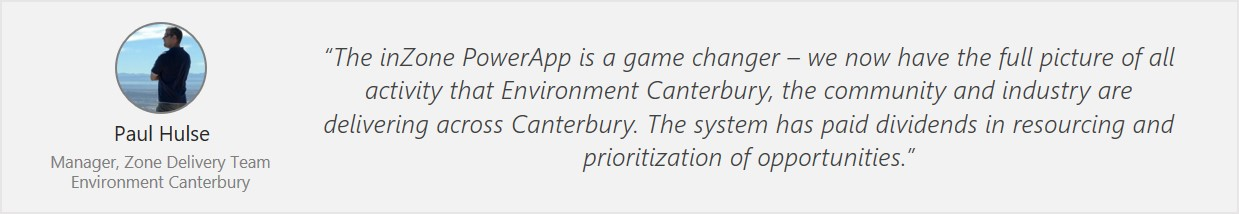 Quote from Paul Hulse, Manager, Environment Canterbury