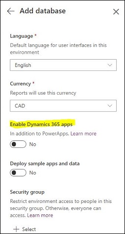 Enable Dynamics 365 apps