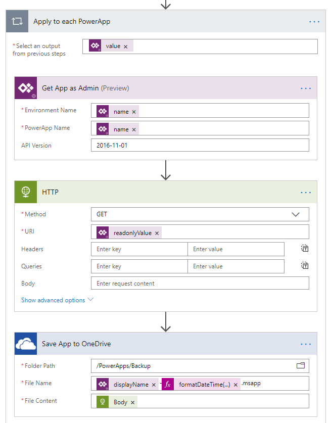 PowerApps to OneDrive Step 2