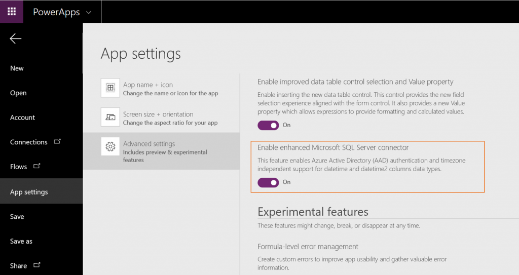 PowerApps settings
