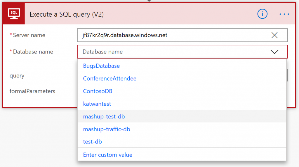 SQL connector in Flow - Database dropdown