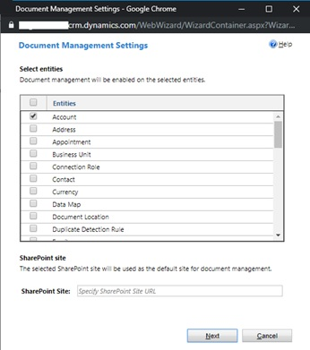 Document Management Settings Wizard