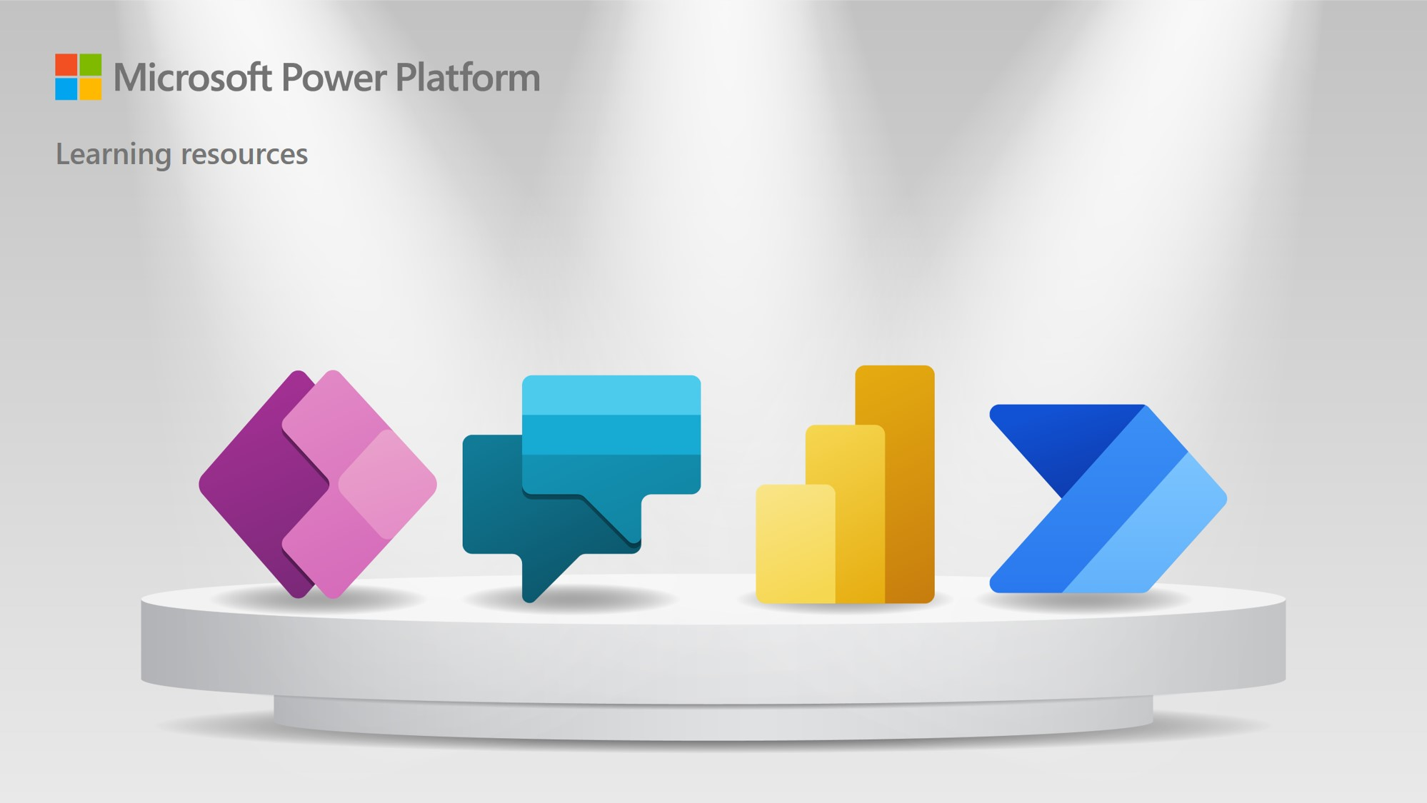 Graphic with Power Platform icons