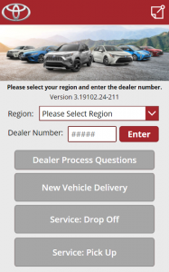 User interface of the Vehicle Delivery App