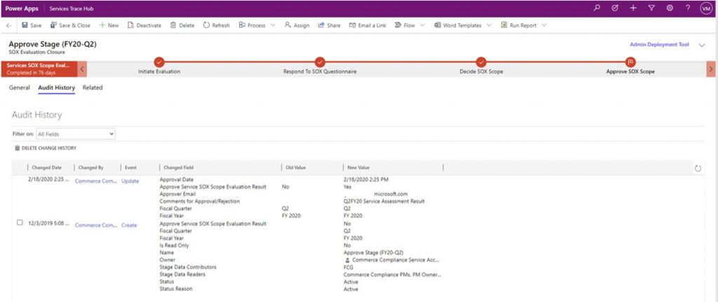 Screenshot of Audit History maintained by Microsoft Dataverse with a record in the custom table.