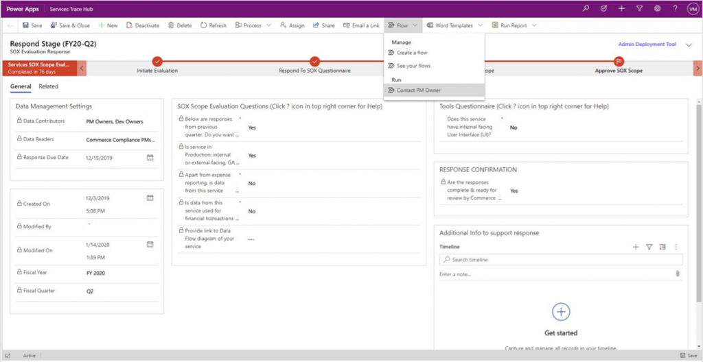 Screenshot of a Compliance PM using the flow Contact PM owner to reach out to the owner of service to get more information for scope assessment.