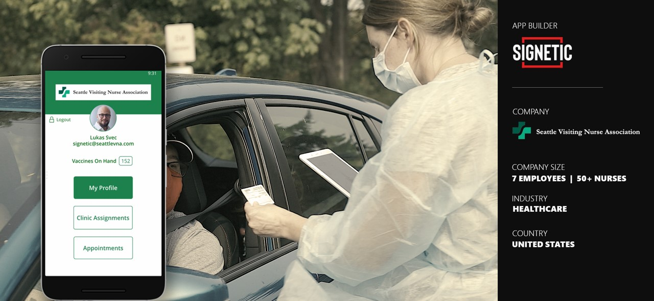 Banner image for SVNA story - picture of nurse at drive-thru flu clinic
