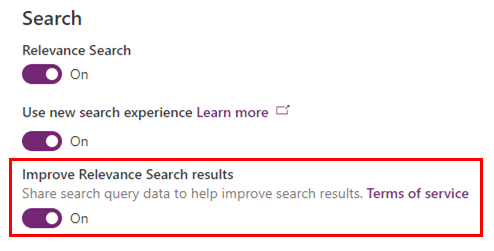 """Improve Relevance Search results"" setting in Power Platform admin center"