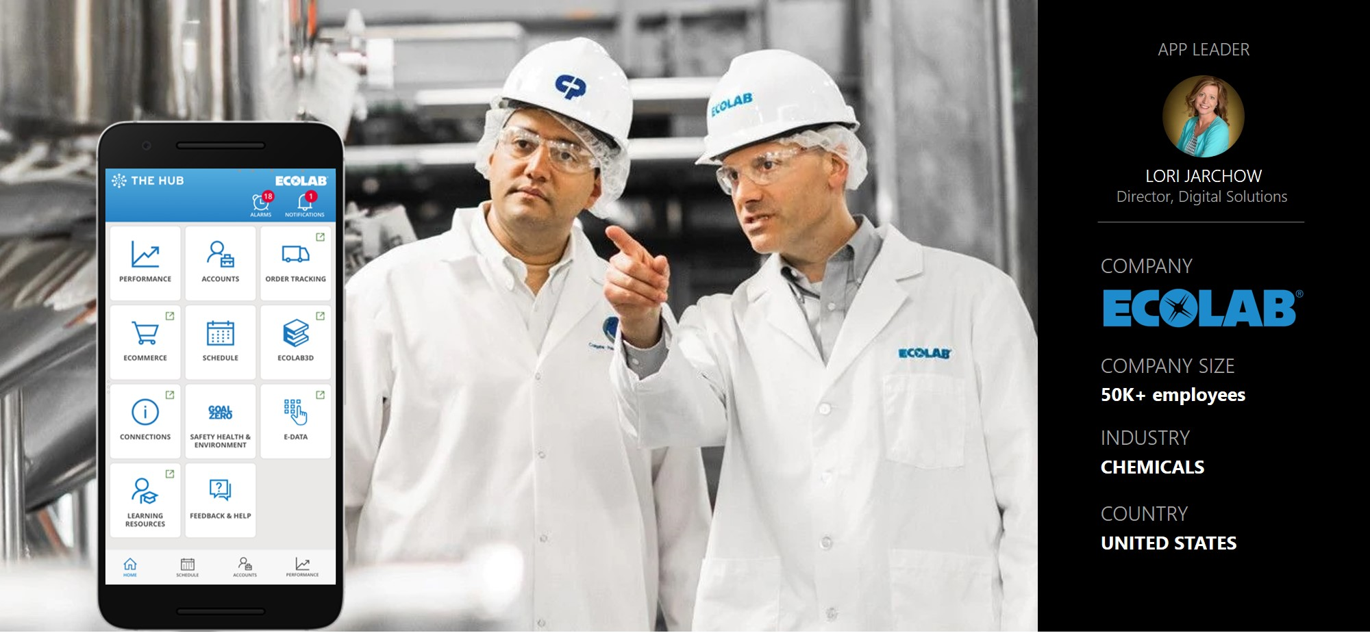 Banner image for Ecolab story. Mentions App leader Lori Jarchow, 50K+ employees, Industry - Chemicals, Country - United States