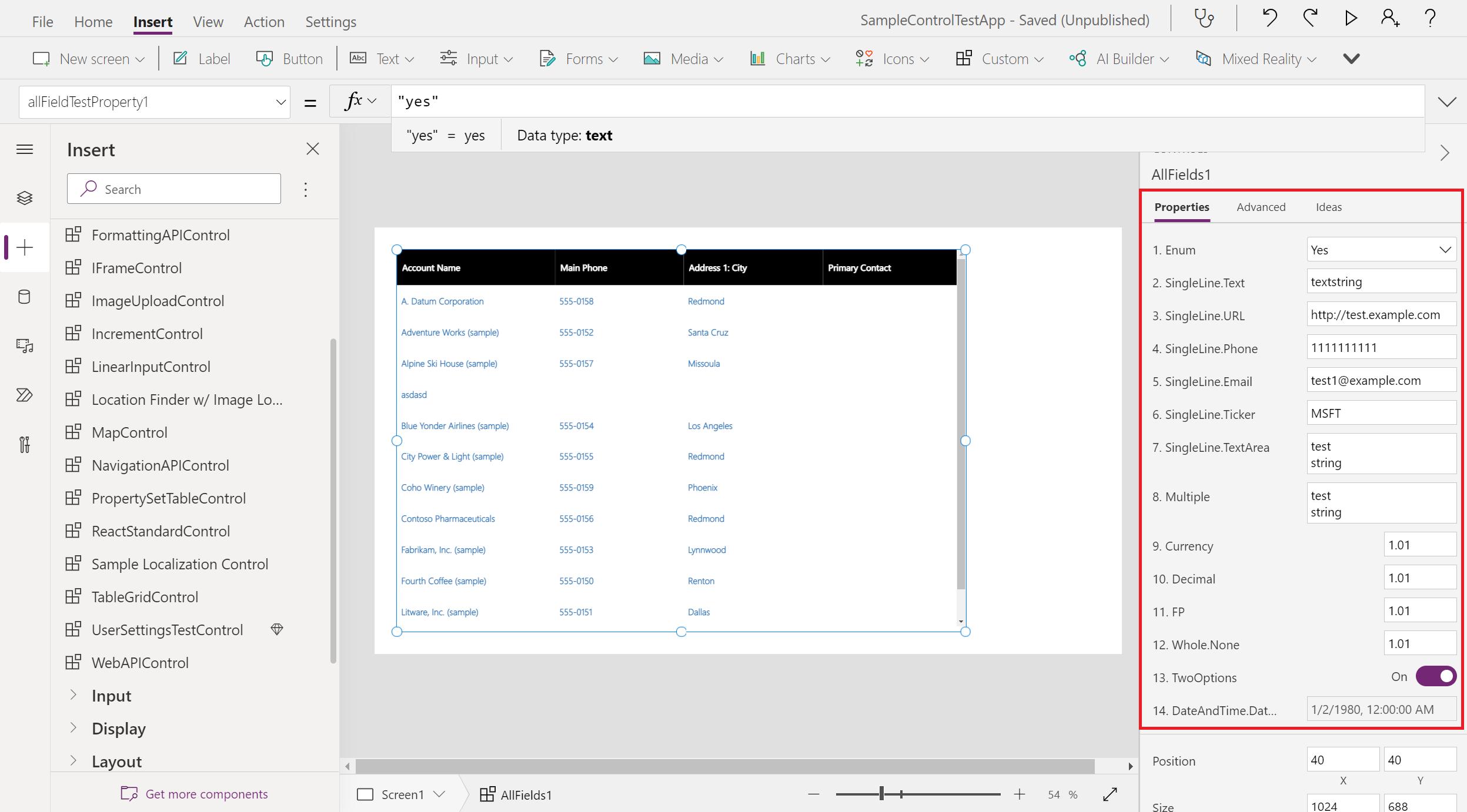 Default properties panel for code components