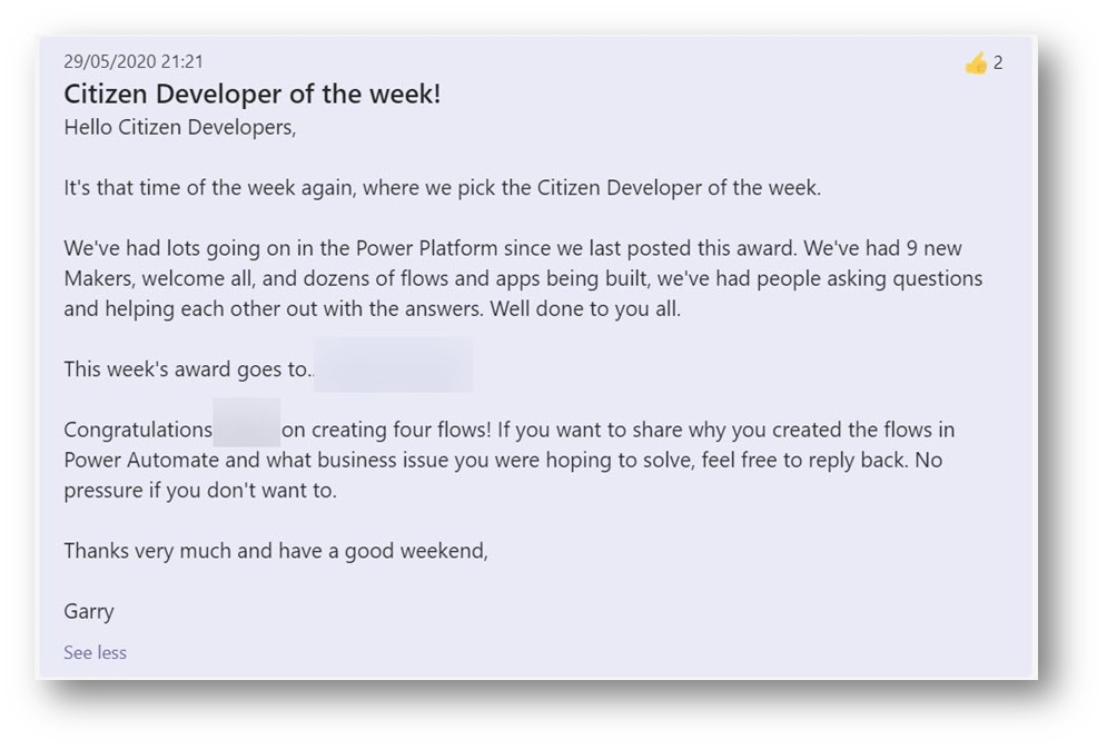 """Success of citizen developers is celebrated with a """"Citizen Developer of the week"""" profile"""
